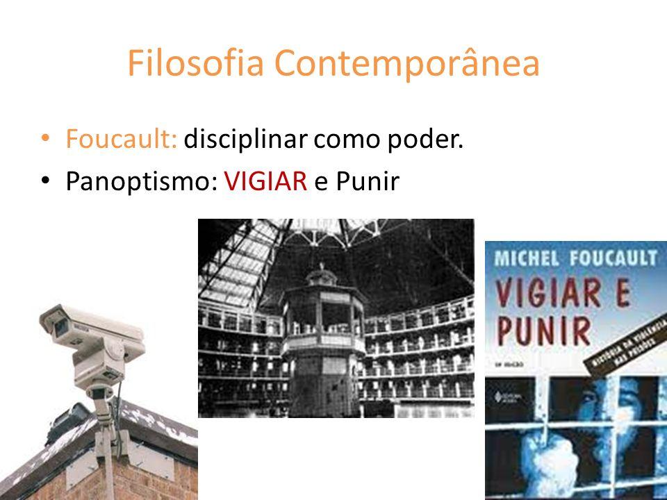 Filosofia Contemporânea Foucault: disciplinar como poder. Panoptismo: VIGIAR e Punir