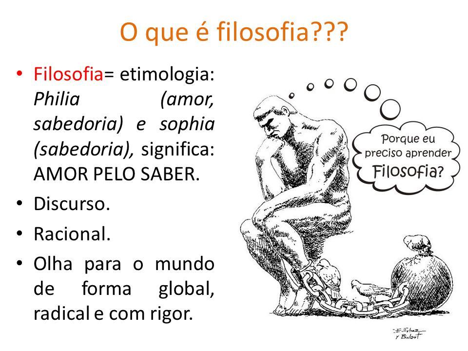 O que é filosofia??? Filosofia= etimologia: Philia (amor, sabedoria) e sophia (sabedoria), significa: AMOR PELO SABER. Discurso. Racional. Olha para o