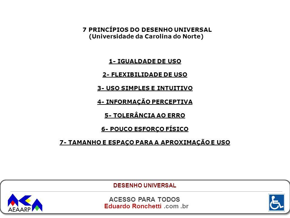 ACESSO PARA TODOS Eduardo Ronchetti.com.br 7 PRINCÍPIOS DO DESENHO UNIVERSAL (Universidade da Carolina do Norte) 1- IGUALDADE DE USO 2- FLEXIBILIDADE