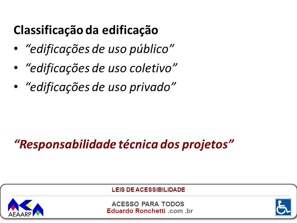 ACESSO PARA TODOS Eduardo Ronchetti.com.br Classificação da edificação edificações de uso público edificações de uso coletivo edificações de uso priva