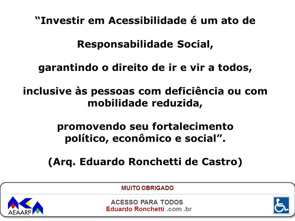 ACESSO PARA TODOS Eduardo Ronchetti.com.br Investir em Acessibilidade é um ato de Responsabilidade Social, garantindo o direito de ir e vir a todos, i