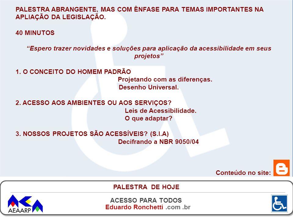 ACESSO PARA TODOS Eduardo Ronchetti.com.br PALESTRA DE HOJE PALESTRA ABRANGENTE, MAS COM ÊNFASE PARA TEMAS IMPORTANTES NA APLIAÇÃO DA LEGISLAÇÃO. 40 M