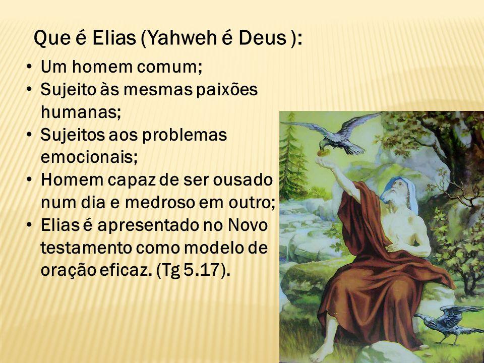 Que é Elias (Yahweh é Deus ): Um homem comum; Sujeito às mesmas paixões humanas; Sujeitos aos problemas emocionais; Homem capaz de ser ousado num dia