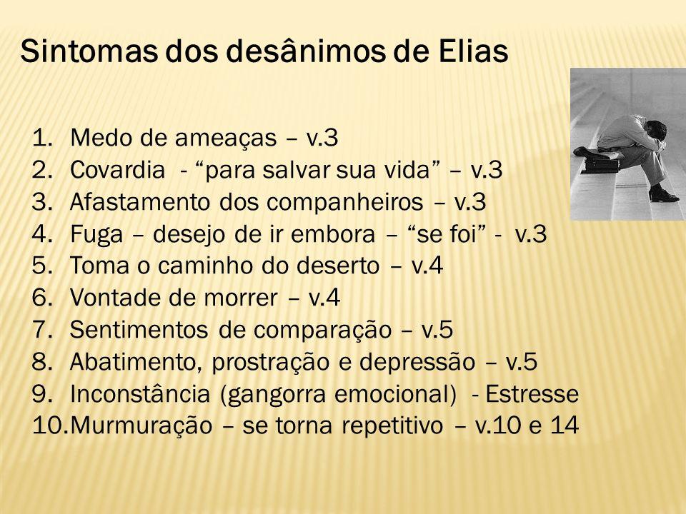 Sintomas dos desânimos de Elias 1.Medo de ameaças – v.3 2.Covardia - para salvar sua vida – v.3 3.Afastamento dos companheiros – v.3 4.Fuga – desejo d