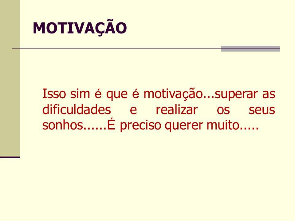 Isso sim é que é motiva ç ão...superar as dificuldades e realizar os seus sonhos...... É preciso querer muito..... MOTIVAÇÃO
