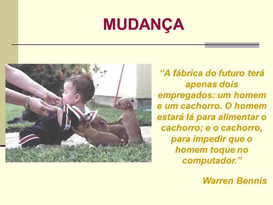A fábrica do futuro terá apenas dois empregados: um homem e um cachorro. O homem estará lá para alimentar o cachorro; e o cachorro, para impedir que o