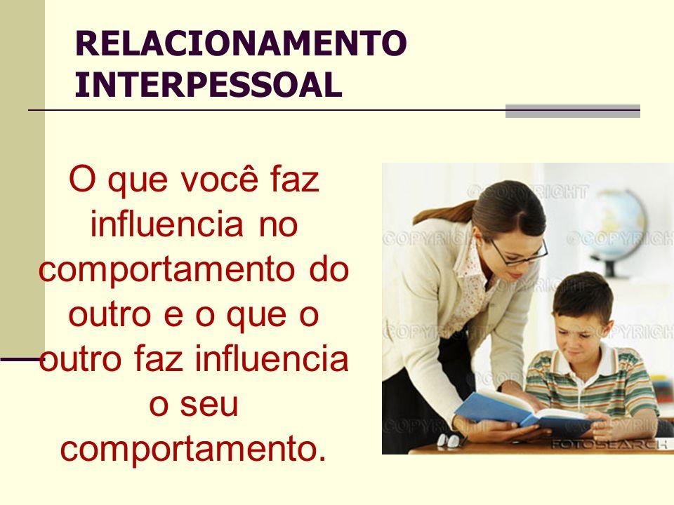O que você faz influencia no comportamento do outro e o que o outro faz influencia o seu comportamento. RELACIONAMENTO INTERPESSOAL