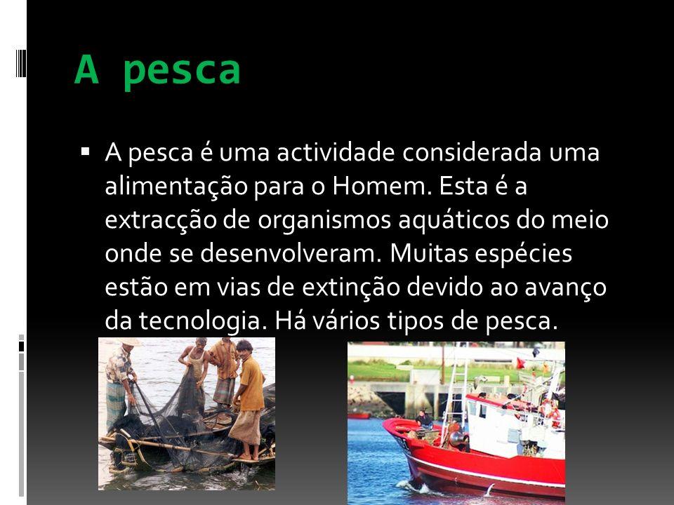 A pesca A pesca é uma actividade considerada uma alimentação para o Homem. Esta é a extracção de organismos aquáticos do meio onde se desenvolveram. M
