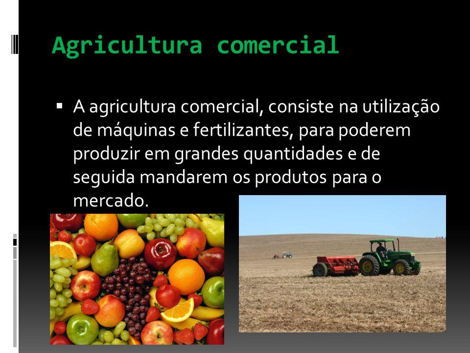 Agricultura comercial A agricultura comercial, consiste na utilização de máquinas e fertilizantes, para poderem produzir em grandes quantidades e de s