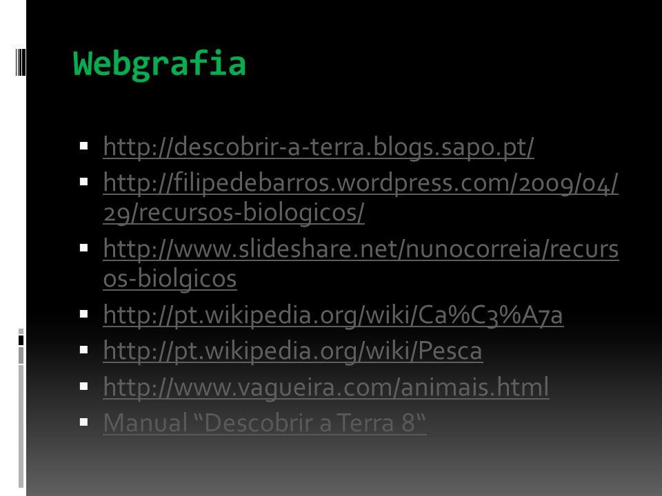 Webgrafia http://descobrir-a-terra.blogs.sapo.pt/ http://filipedebarros.wordpress.com/2009/04/ 29/recursos-biologicos/ http://www.slideshare.net/nunoc