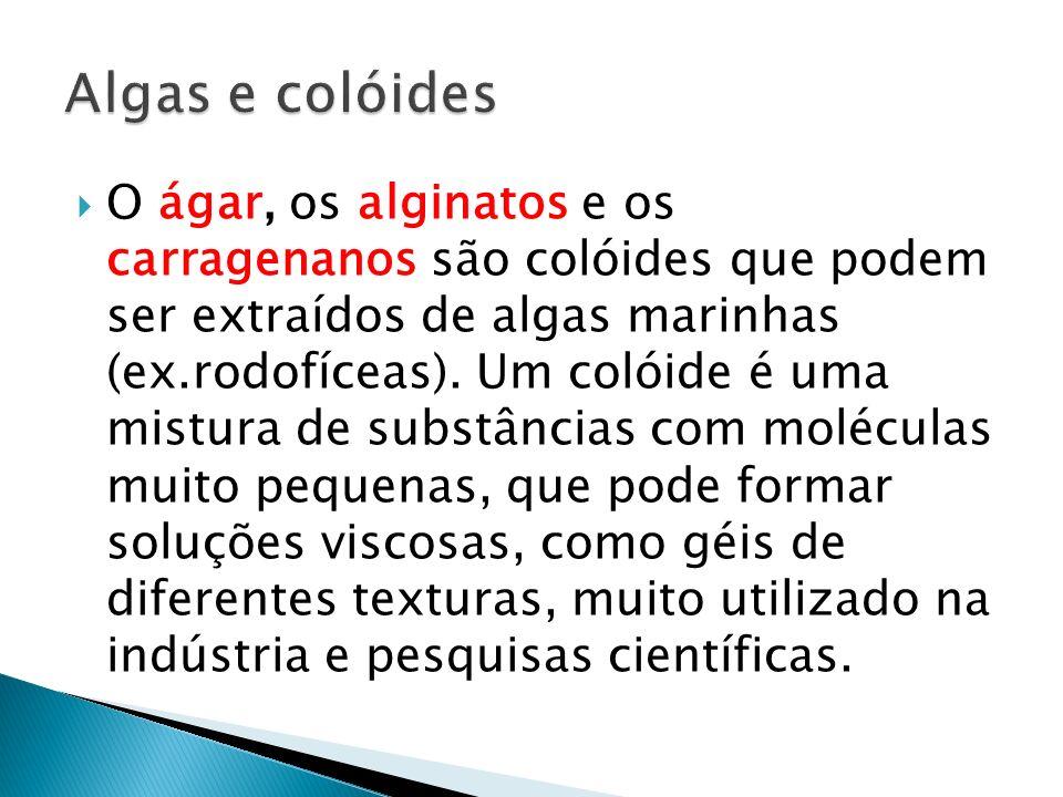 O ágar, os alginatos e os carragenanos são colóides que podem ser extraídos de algas marinhas (ex.rodofíceas). Um colóide é uma mistura de substâncias
