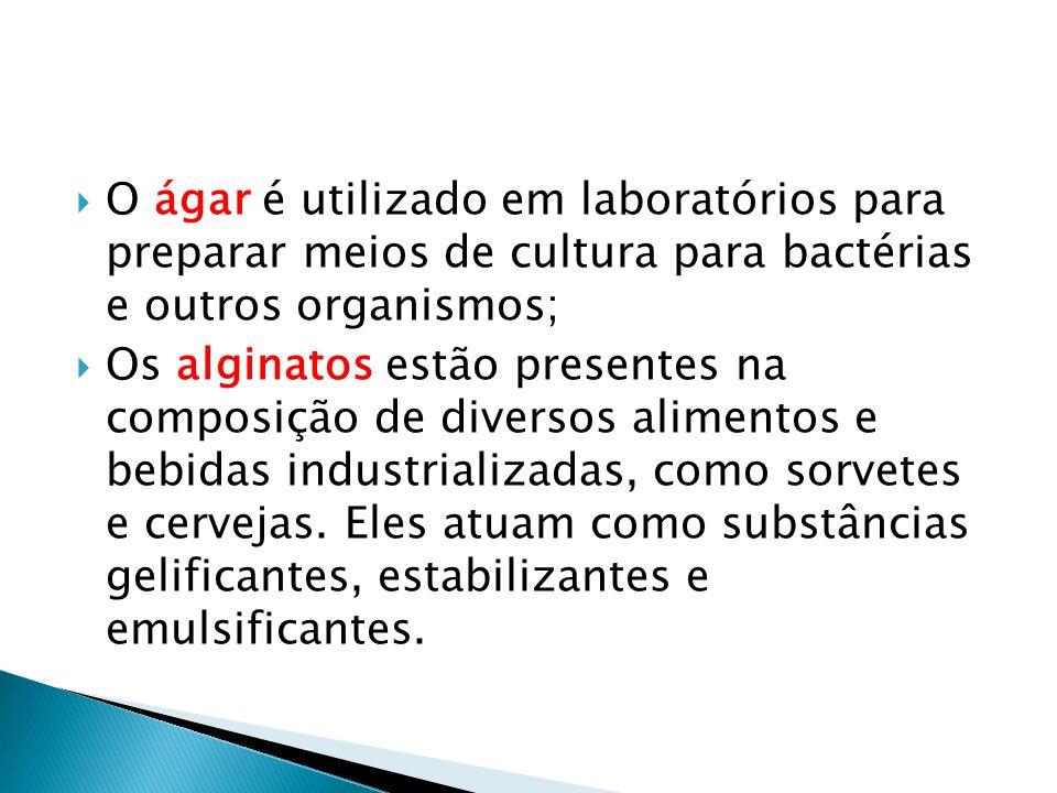O ágar é utilizado em laboratórios para preparar meios de cultura para bactérias e outros organismos; Os alginatos estão presentes na composição de di