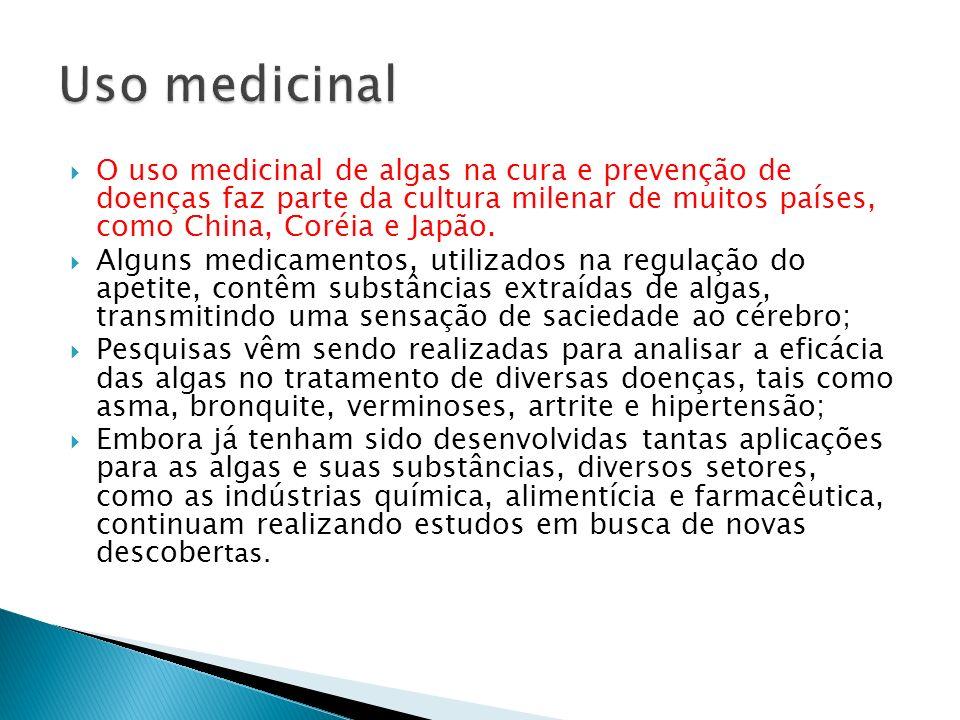 O uso medicinal de algas na cura e prevenção de doenças faz parte da cultura milenar de muitos países, como China, Coréia e Japão. Alguns medicamentos
