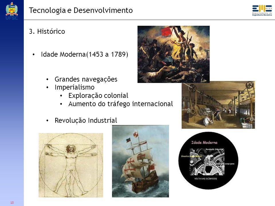 10 Tecnologia e Desenvolvimento 3. Histórico Idade Moderna(1453 a 1789) Grandes navegações Imperialismo Exploração colonial Aumento do tráfego interna
