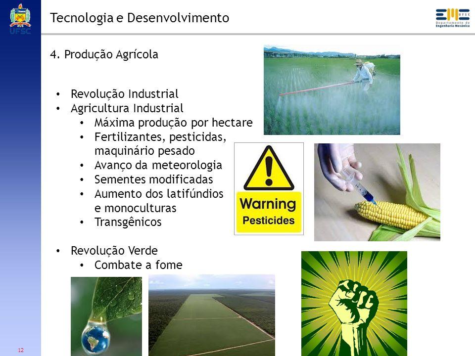 12 Tecnologia e Desenvolvimento 4. Produção Agrícola Revolução Industrial Agricultura Industrial Máxima produção por hectare Fertilizantes, pesticidas