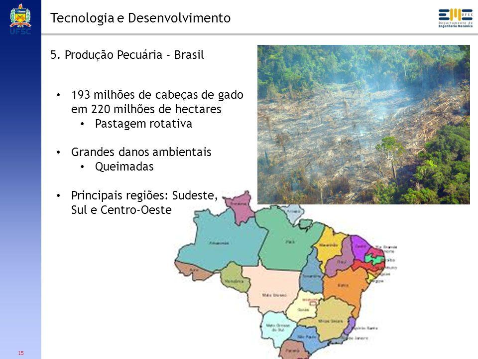 15 Tecnologia e Desenvolvimento 5. Produção Pecuária - Brasil 193 milhões de cabeças de gado em 220 milhões de hectares Pastagem rotativa Grandes dano