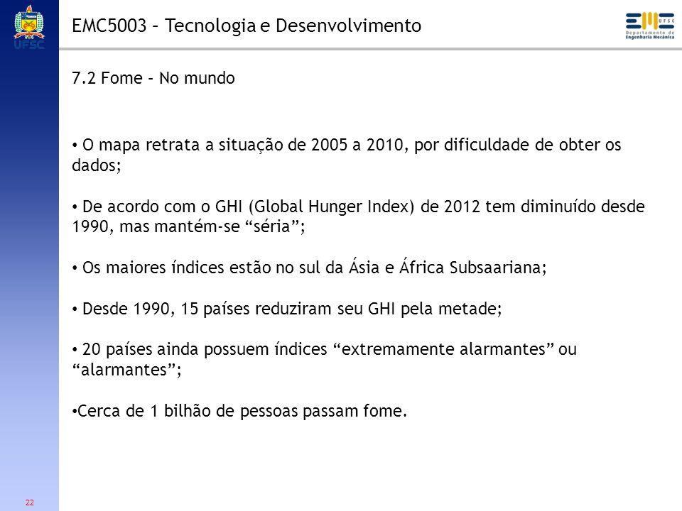 22 7.2 Fome – No mundo O mapa retrata a situação de 2005 a 2010, por dificuldade de obter os dados; De acordo com o GHI (Global Hunger Index) de 2012