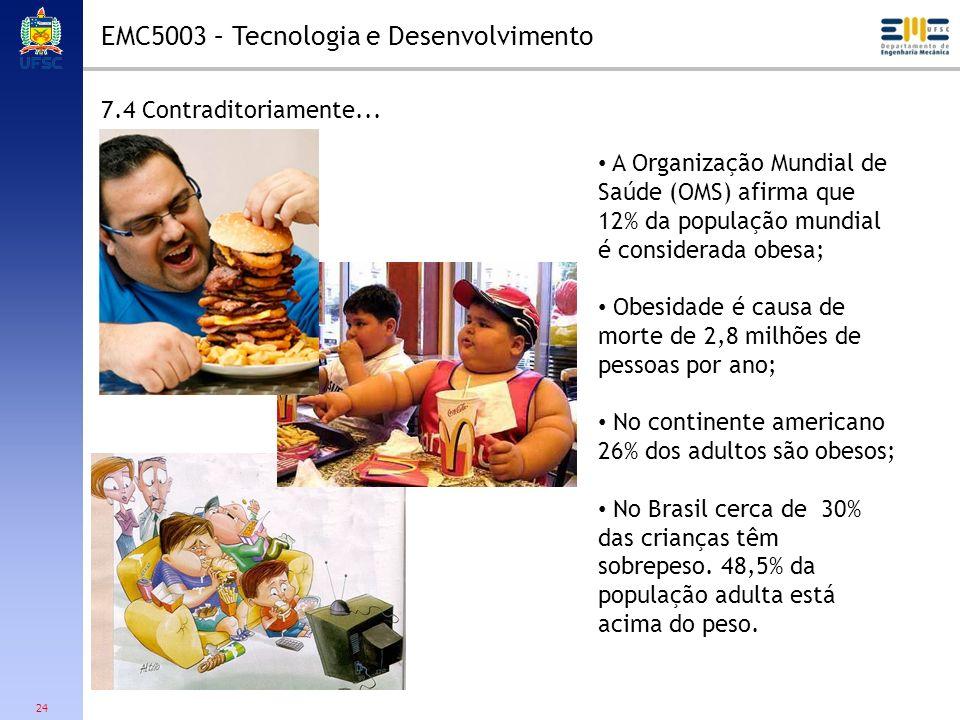 24 7.4 Contraditoriamente... EMC5003 – Tecnologia e Desenvolvimento A Organização Mundial de Saúde (OMS) afirma que 12% da população mundial é conside