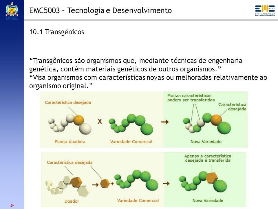 29 10.1 Transgênicos Transgênicos são organismos que, mediante técnicas de engenharia genética, contêm materiais genéticos de outros organismos. Visa