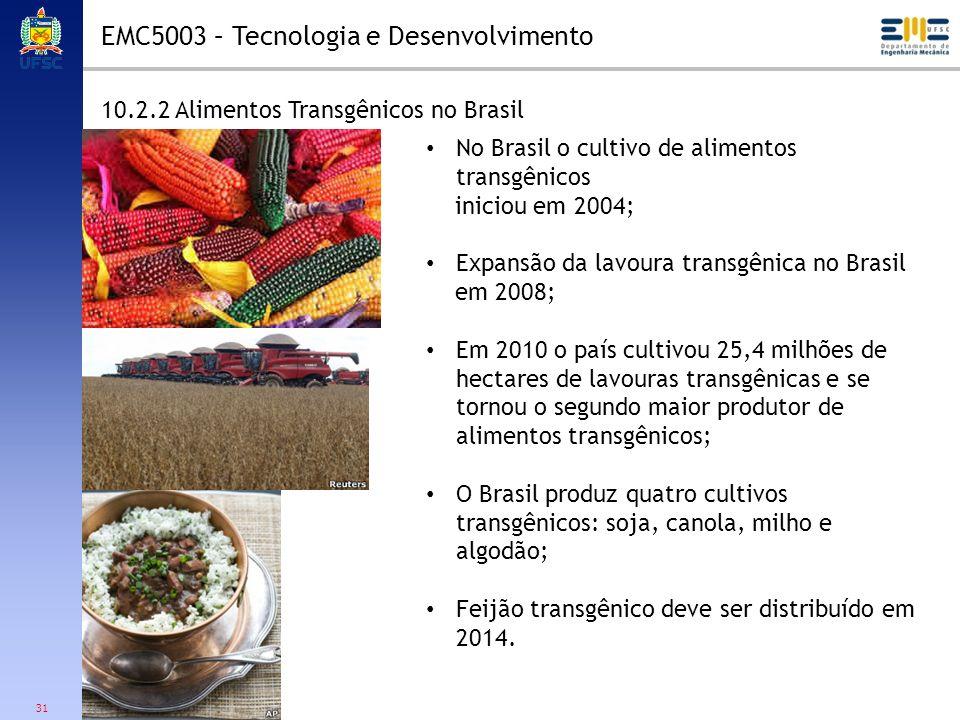 31 10.2.2 Alimentos Transgênicos no Brasil No Brasil o cultivo de alimentos transgênicos iniciou em 2004; Expansão da lavoura transgênica no Brasil em