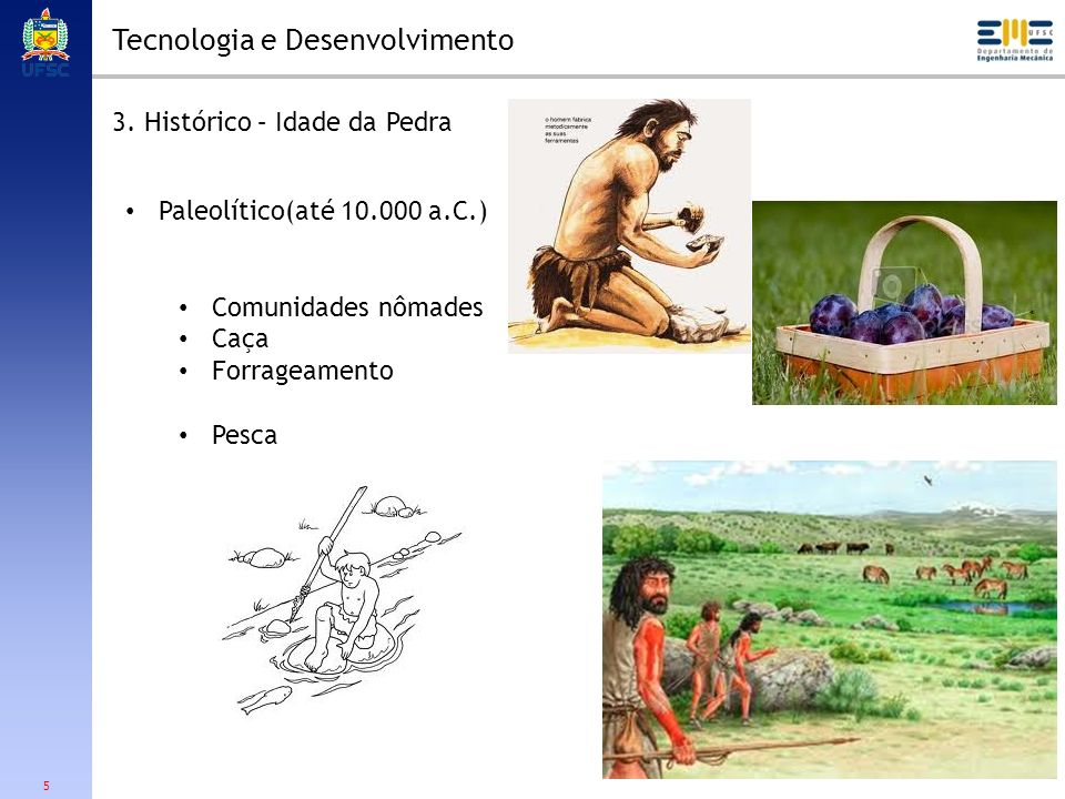5 Tecnologia e Desenvolvimento 3. Histórico – Idade da Pedra Paleolítico(até 10.000 a.C.) Comunidades nômades Caça Forrageamento Pesca