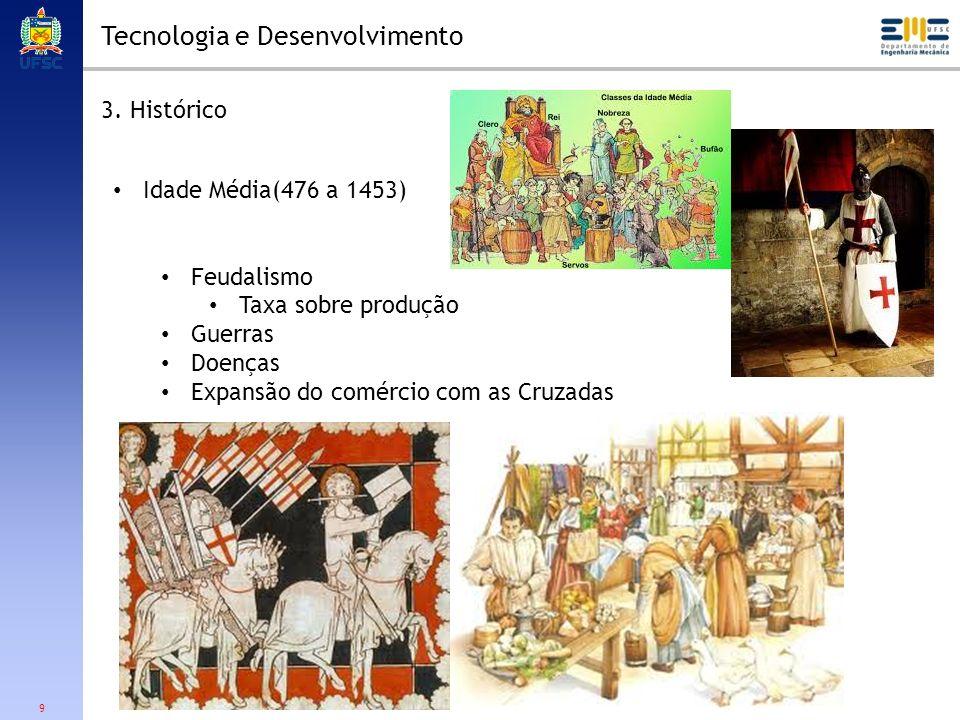 9 Tecnologia e Desenvolvimento 3. Histórico Idade Média(476 a 1453) Feudalismo Taxa sobre produção Guerras Doenças Expansão do comércio com as Cruzada