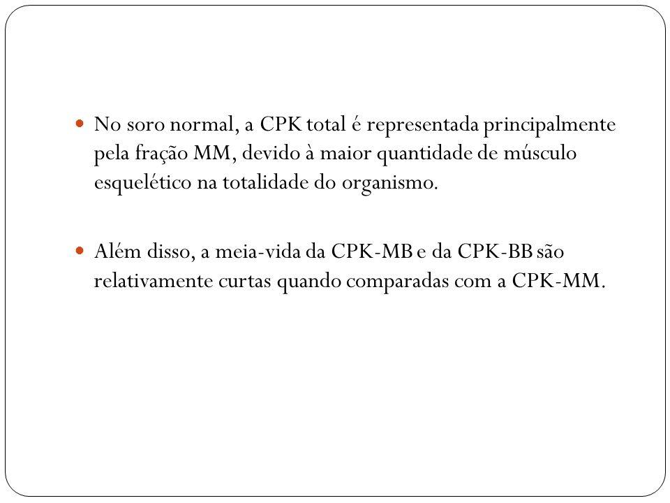 No soro normal, a CPK total é representada principalmente pela fração MM, devido à maior quantidade de músculo esquelético na totalidade do organismo.