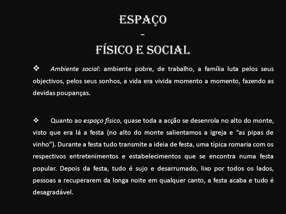 ESPAÇO - FÍSICO e SOCIAL Ambiente social Ambiente social: ambiente pobre, de trabalho, a família luta pelos seus objectivos, pelos seus sonhos, a vida