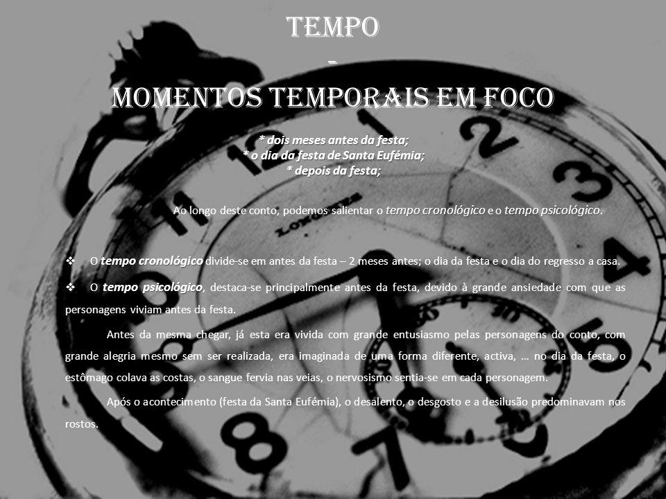 TEMPO - momentos temporais em foco * dois meses antes da festa; * o dia da festa de Santa Eufémia; * depois da festa; tempo cronológico tempo psicológ