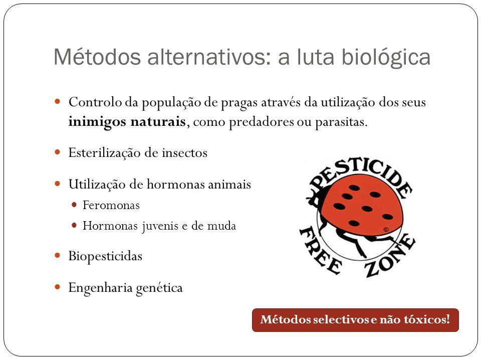 Métodos alternativos: a luta biológica Controlo da população de pragas através da utilização dos seus inimigos naturais, como predadores ou parasitas.