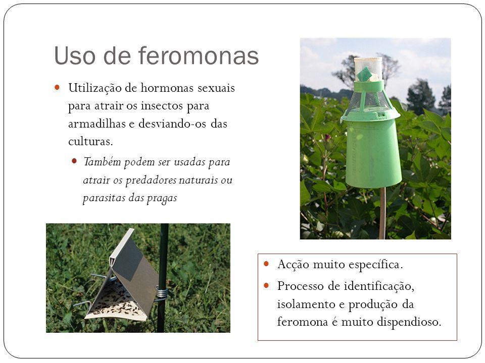 Uso de feromonas Utilização de hormonas sexuais para atrair os insectos para armadilhas e desviando-os das culturas. Também podem ser usadas para atra