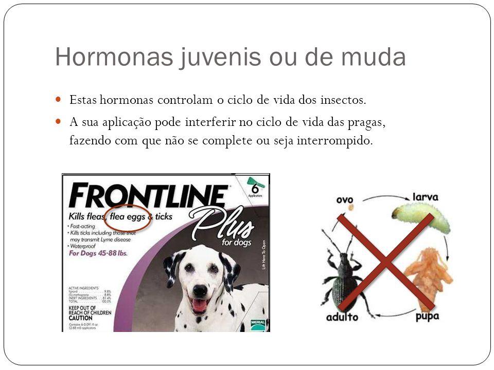 Hormonas juvenis ou de muda Estas hormonas controlam o ciclo de vida dos insectos. A sua aplicação pode interferir no ciclo de vida das pragas, fazend