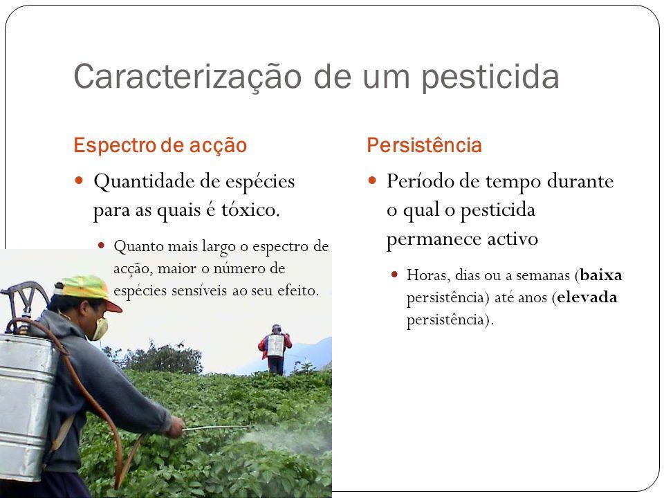 Caracterização de um pesticida Espectro de acçãoPersistência Quantidade de espécies para as quais é tóxico. Quanto mais largo o espectro de acção, mai