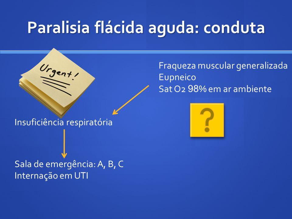Paralisia flácida aguda: conduta Insuficiência respiratória Sala de emergência: A, B, C Internação em UTI Fraqueza muscular generalizada Eupneico Sat
