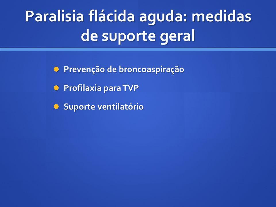 Prevenção de broncoaspiração Prevenção de broncoaspiração Profilaxia para TVP Profilaxia para TVP Suporte ventilatório Suporte ventilatório Paralisia