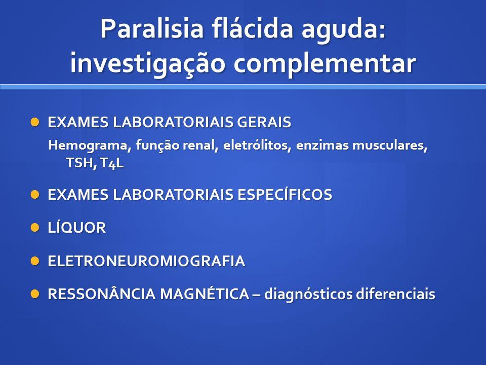 EXAMES LABORATORIAIS GERAIS EXAMES LABORATORIAIS GERAIS Hemograma, função renal, eletrólitos, enzimas musculares, TSH, T4L EXAMES LABORATORIAIS ESPECÍ