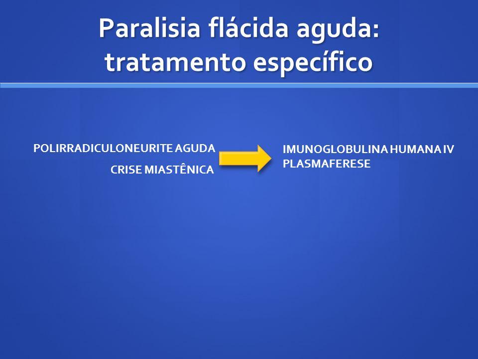 Paralisia flácida aguda: tratamento específico CRISE MIASTÊNICA POLIRRADICULONEURITE AGUDA IMUNOGLOBULINA HUMANA IV PLASMAFERESE