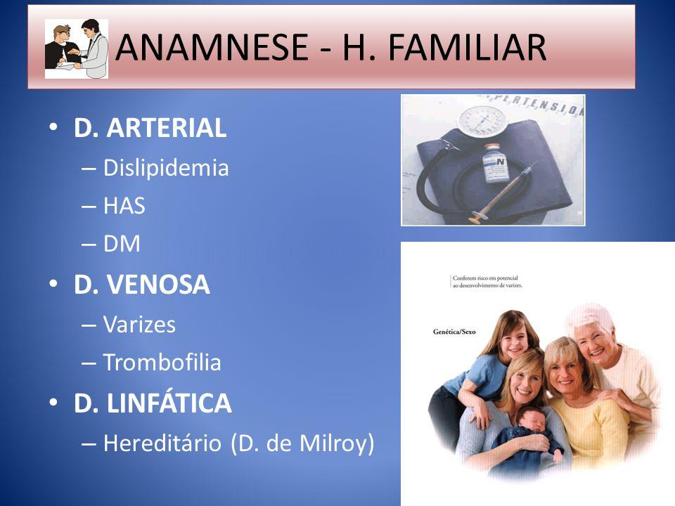 ANAMNESE - H. FAMILIAR D. ARTERIAL – Dislipidemia – HAS – DM D. VENOSA – Varizes – Trombofilia D. LINFÁTICA – Hereditário (D. de Milroy)