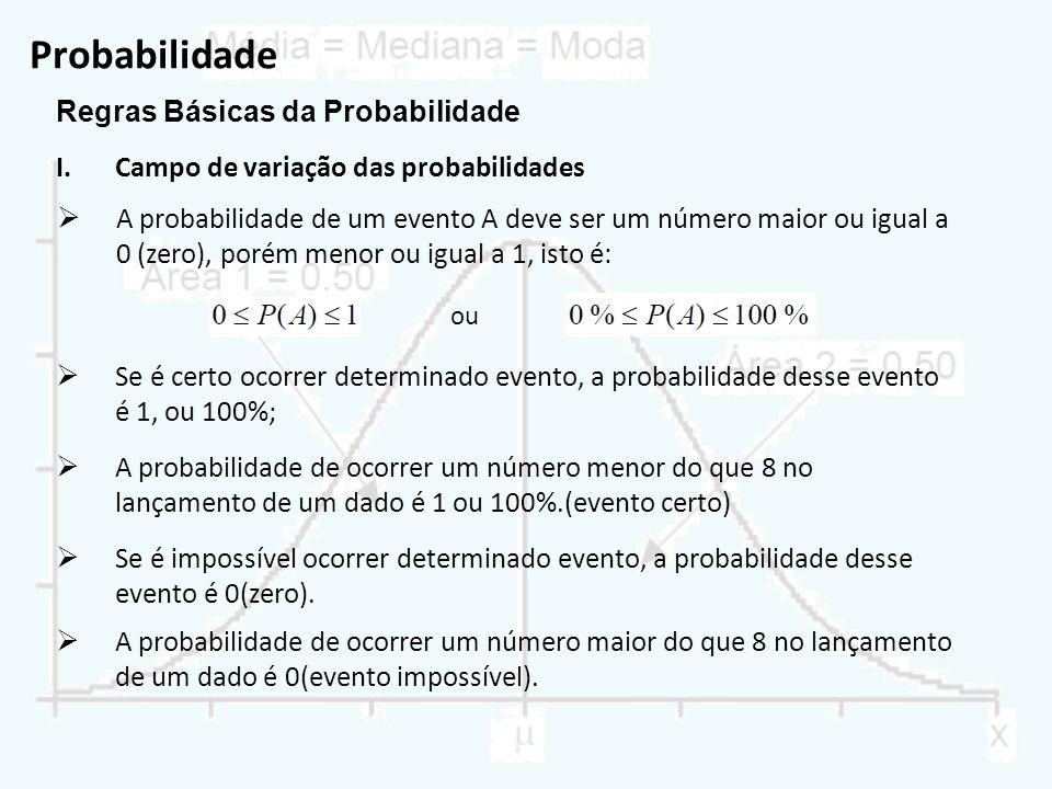 Probabilidade Regras Básicas da Probabilidade I.Campo de variação das probabilidades ou A probabilidade de um evento A deve ser um número maior ou igu