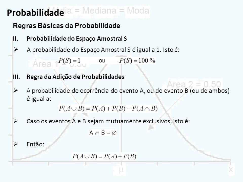 Probabilidade Regras Básicas da Probabilidade II.Probabilidade do Espaço Amostral S A probabilidade do Espaço Amostral S é igual a 1. Isto é: III.Regr