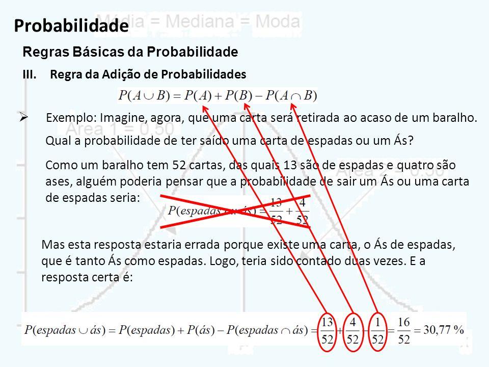 Probabilidade Regras Básicas da Probabilidade III.Regra da Adição de Probabilidades Exemplo: Imagine, agora, que uma carta será retirada ao acaso de u