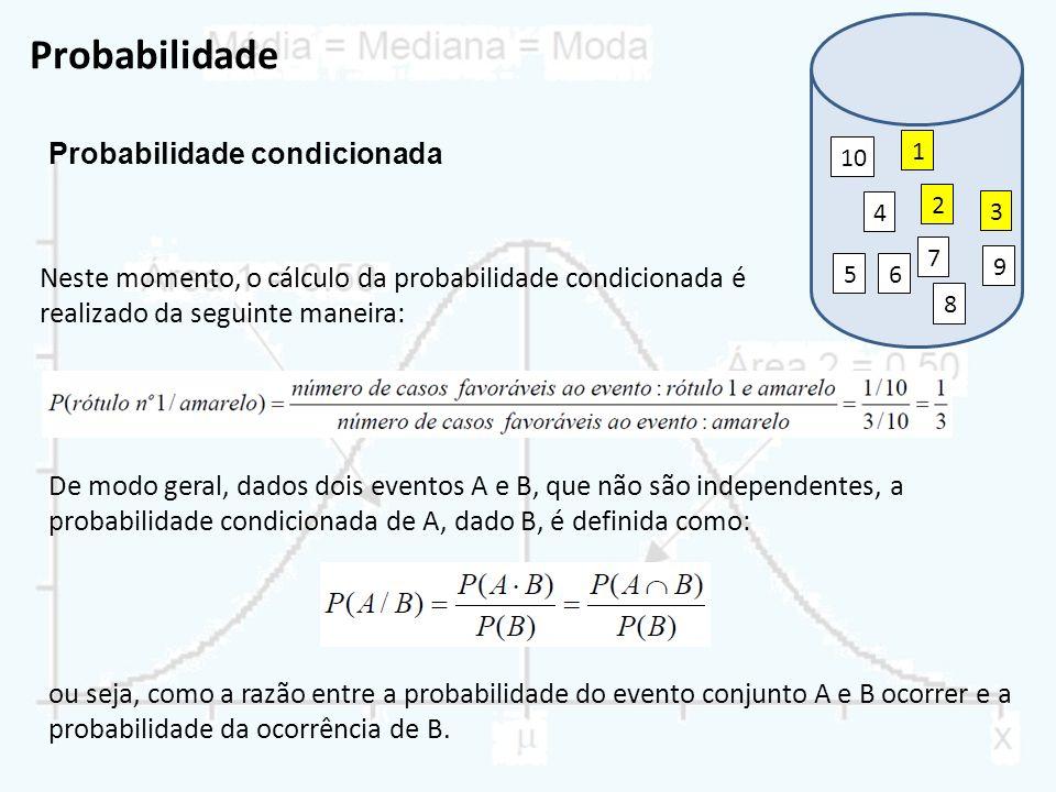 Probabilidade Probabilidade condicionada 1 2 3 7 9 8 6 4 5 10 Neste momento, o cálculo da probabilidade condicionada é realizado da seguinte maneira: