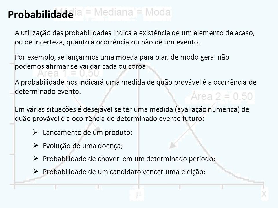 Probabilidade A utilização das probabilidades indica a existência de um elemento de acaso, ou de incerteza, quanto à ocorrência ou não de um evento. P