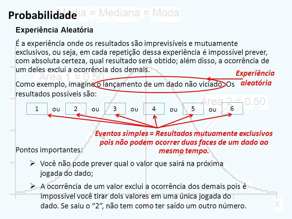 Probabilidade É o conjunto de todos os eventos simples (resultados mutuamente exclusivos) de uma experiência aleatória.