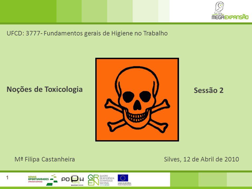 Mª Filipa CastanheiraSilves, 12 de Abril de 2010 UFCD: 3777- Fundamentos gerais de Higiene no Trabalho Noções de Toxicologia Sessão 2 1