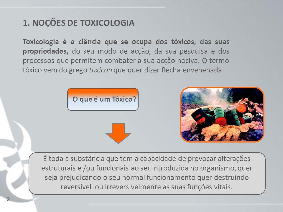 1. NOÇÕES DE TOXICOLOGIA Toxicologia é a ciência que se ocupa dos tóxicos, das suas propriedades, do seu modo de acção, da sua pesquisa e dos processo