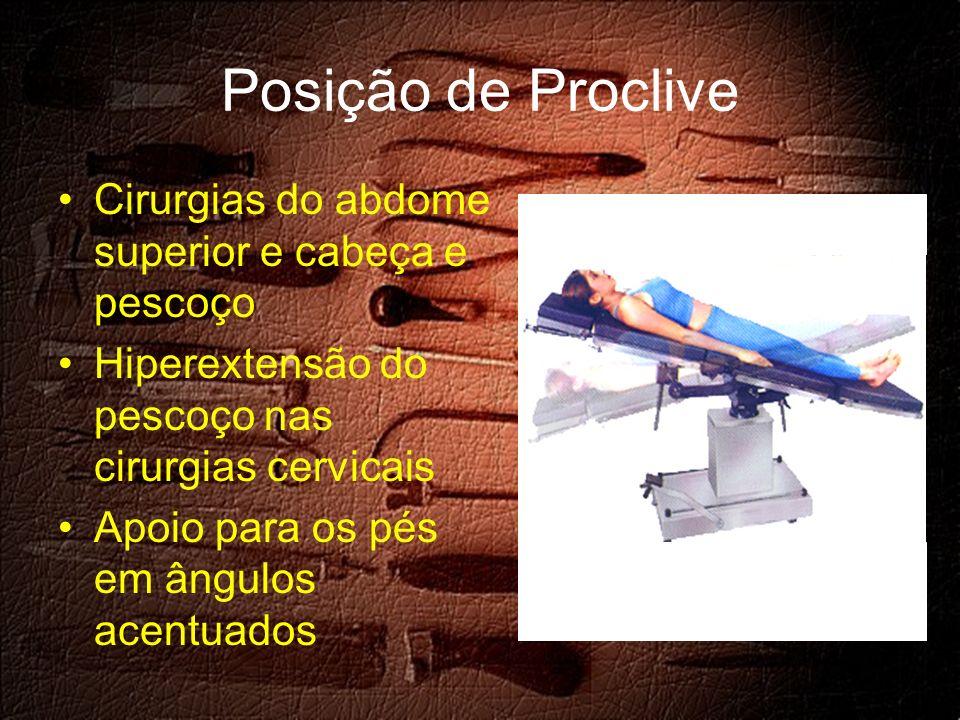 Posição de Proclive Cirurgias do abdome superior e cabeça e pescoço Hiperextensão do pescoço nas cirurgias cervicais Apoio para os pés em ângulos acentuados