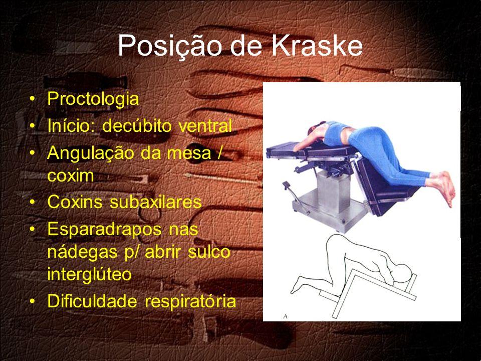Posição de Kraske Proctologia Início: decúbito ventral Angulação da mesa / coxim Coxins subaxilares Esparadrapos nas nádegas p/ abrir sulco interglúteo Dificuldade respiratória