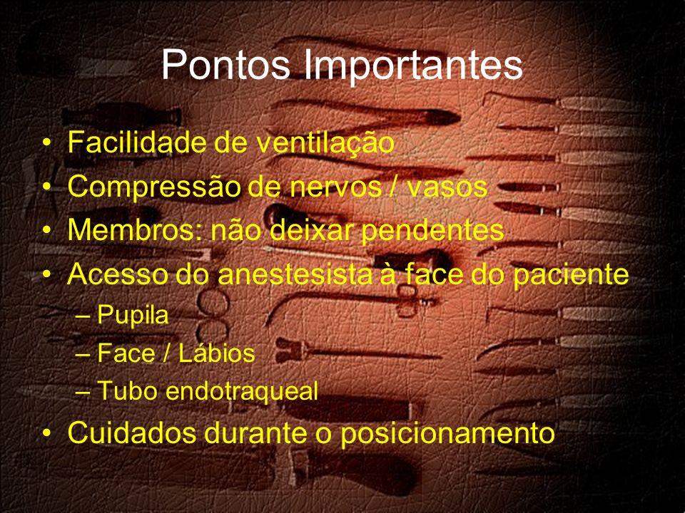 Pontos Importantes Facilidade de ventilação Compressão de nervos / vasos Membros: não deixar pendentes Acesso do anestesista à face do paciente –Pupila –Face / Lábios –Tubo endotraqueal Cuidados durante o posicionamento