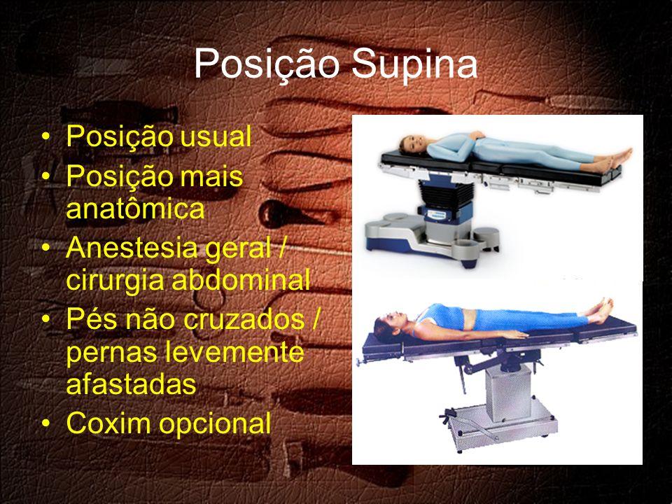 Posição Supina Posição usual Posição mais anatômica Anestesia geral / cirurgia abdominal Pés não cruzados / pernas levemente afastadas Coxim opcional